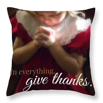 Give Thanks Color Throw Pillow by Valerie Reeves
