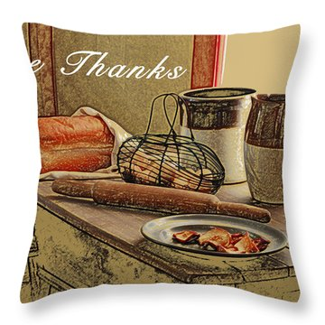 Give Thanks Throw Pillow by Michael Peychich