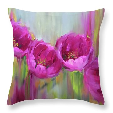 Given Time Pink Tulips Throw Pillow