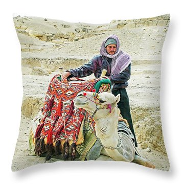 Giza Camel Taxi Throw Pillow