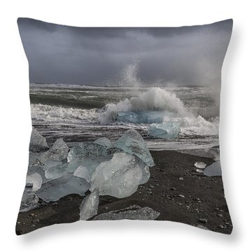 Glacial Lagoon Iceland 2 Throw Pillow by Kathy Adams Clark