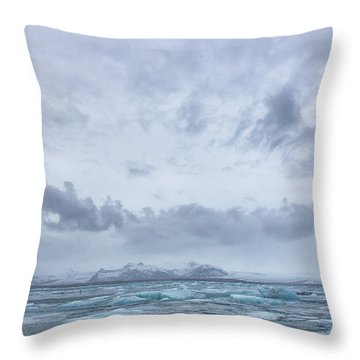 Glacial Lagoon Iceland Throw Pillow