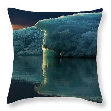 Glacial Lagoon Reflections Throw Pillow