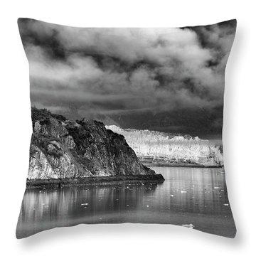 Glacier Bay Alaska In Bw Throw Pillow