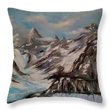 Throw Pillow featuring the painting Glacier Bay, Alaska by Judith Rhue
