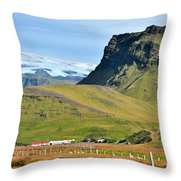 Glacier Mountains Meadows Farm Throw Pillow by David Halperin
