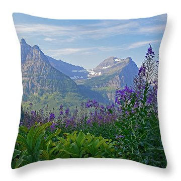 Glacier National Park Fireweed Throw Pillow