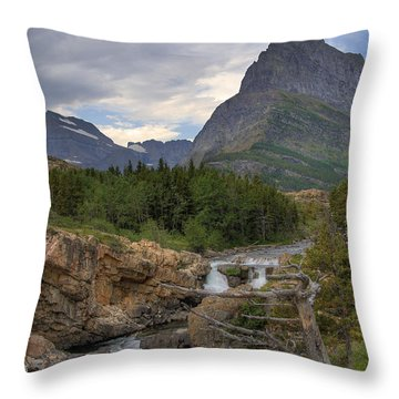 Glacier National Park Landscape Throw Pillow