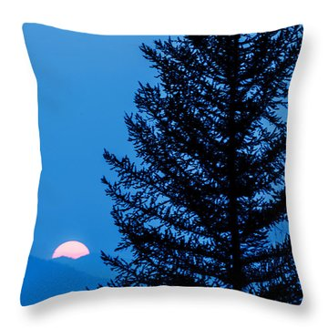Throw Pillow featuring the photograph Glacier National Park Sunset Blue by Kevin Blackburn