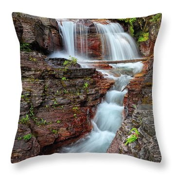 Glacier National Park Waterfall 2 Throw Pillow by Andres Leon