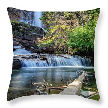 Glacier National Park Waterfall 3 Throw Pillow by Andres Leon