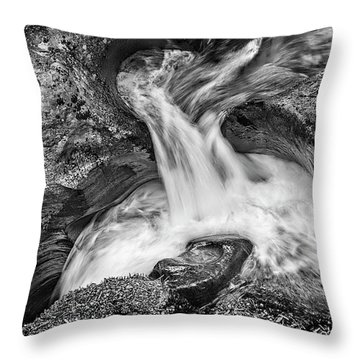 Glacier National Park's Avalanche Gorge In Black And White Throw Pillow