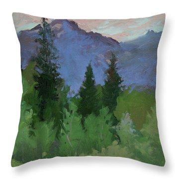 Glacier Nat'l Park - Plein Air -  Rising Wolf Ranch Throw Pillow