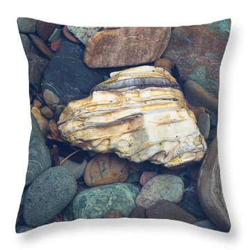 Glacier Park Creek Stones Submerged Throw Pillow