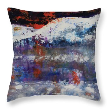 Throw Pillow featuring the painting Glacier Reflections by Walter Fahmy