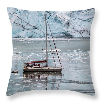 Throw Pillow featuring the photograph Glacier Sailing by Ed Clark