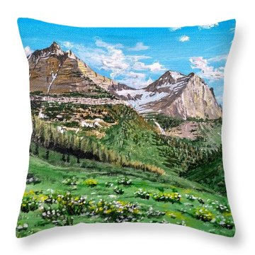 Throw Pillow featuring the painting Glacier Summer by Kevin Daly