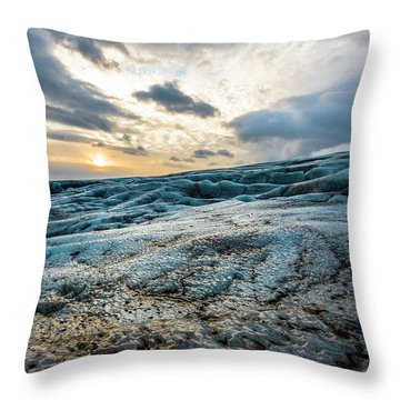 Glacier Sunrise Throw Pillow