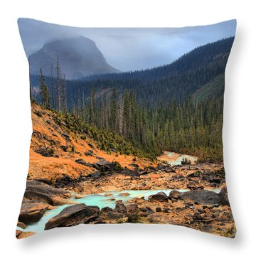 Throw Pillow featuring the photograph Glacier Waters Flowing Through Yoho National Park by Adam Jewell