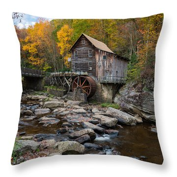 Glade Creek Grist Mill Babcock State Park Throw Pillow