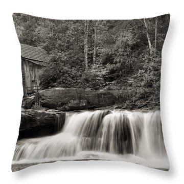 Glade Creek Grist Mill Monochrome Throw Pillow by Chris Flees