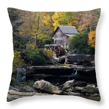 Throw Pillow featuring the photograph Glade Creek Grist Mill - D009975 by Daniel Dempster