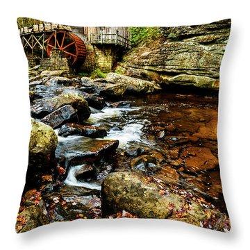 Glade Creek Grist Mill Fall  Throw Pillow