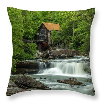 Glade Creek Grist Mill In May Throw Pillow