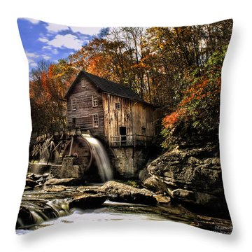 Glade Creek Grist Mill Throw Pillow by Mark Allen