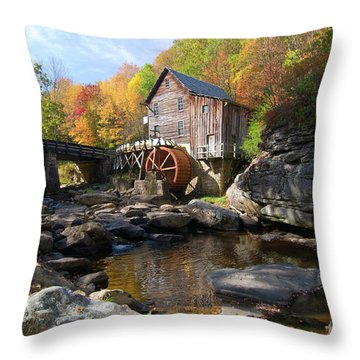 Throw Pillow featuring the photograph Glade Creek Grist Mill by Steve Stuller
