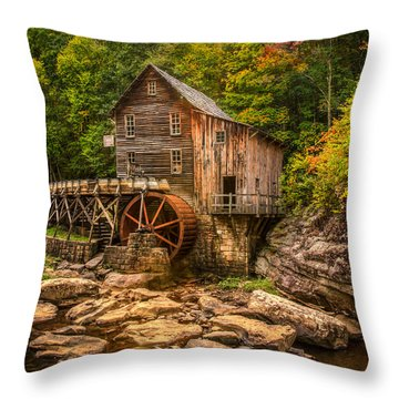 Glade Creek Mill Fall Throw Pillow by Rebecca Hiatt