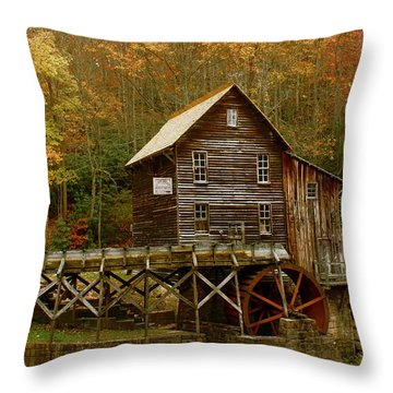 Throw Pillow featuring the photograph Glade Grist Mill by Ola Allen