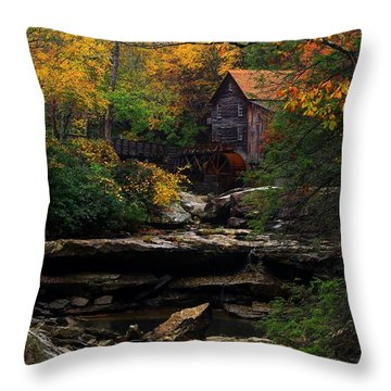 Glades Creek Grist Mill West Virginia Throw Pillow