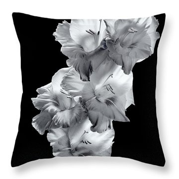 Throw Pillow featuring the photograph Gladiola In Bw by David Perry Lawrence