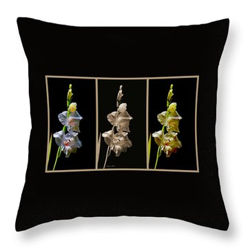 Gladiola Collage Throw Pillow by Farol Tomson