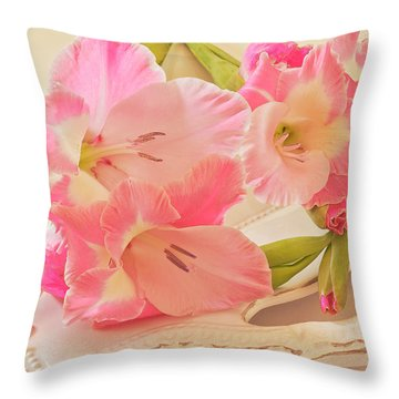 Gladiolas In Pink Throw Pillow by Sandra Foster