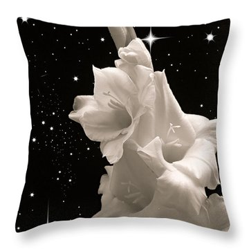 Gladiolas In Space Throw Pillow by Farol Tomson