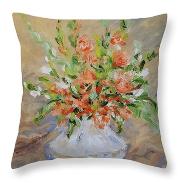 Throw Pillow featuring the painting Gladiolas by Judith Rhue