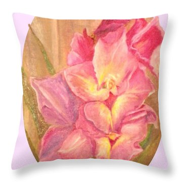 Gladiolas Oval Throw Pillow by Sherril Porter