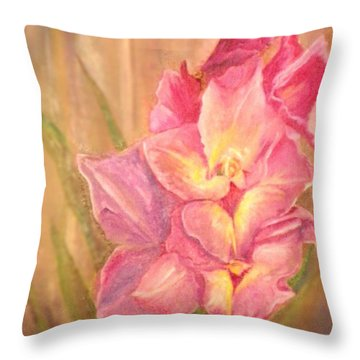 Gladiolas Throw Pillow by Sherril Porter