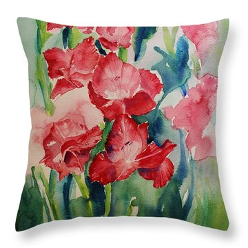 Gladioli Still Life Throw Pillow by Geeta Biswas