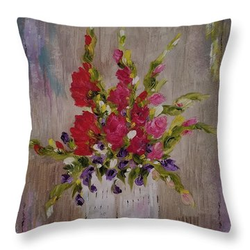 Throw Pillow featuring the painting Gladiolus On Point by Judith Rhue