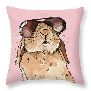 Glamorous Rabbit Throw Pillow