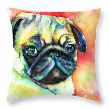 Throw Pillow featuring the painting Glamour Pug by Christy  Freeman