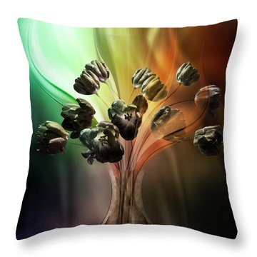 Throw Pillow featuring the digital art Glasblower's Tulips by Johnny Hildingsson