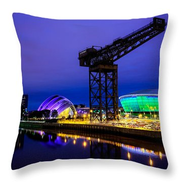 Glasgow At Night Throw Pillow by Ian Good