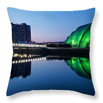 Throw Pillow featuring the photograph Glasgow Riverside Reflections by Stephen Taylor