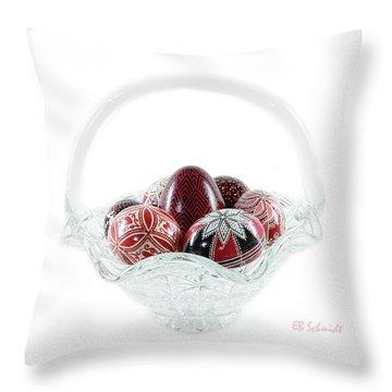 Glass Basket Full Of Eggs Throw Pillow