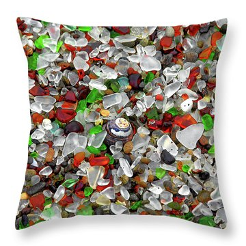 Glass Beach Fort Bragg Mendocino Coast Throw Pillow