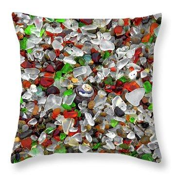 Glass Beach Fort Bragg Mendocino Coast Throw Pillow